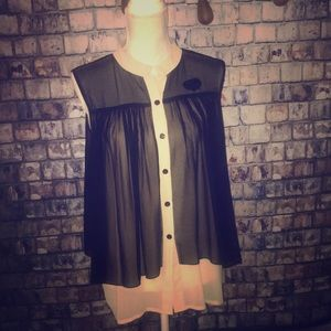 Sheer Black with Nude Underlay Button Up TopLarge